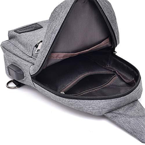 Short Dark Sling Crossbody High Gray Canvas Bag Usb Men Chest For amp;female Trip Shoulder Casual Capacity q18nq6w47