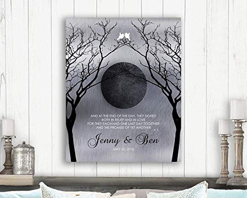 Personalized Love Poem Night Moon Bare Trees Faux Shiny Tin Background White Doves Custom Art Print 1344 Paper Print ()