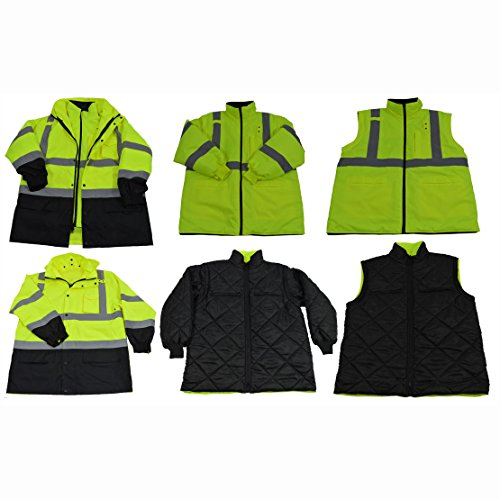 - Petra Roc LBPJ6IN1-C3-L Two Tone Waterproof 6-In-1 Parka Jacket, Large, Lime/Black