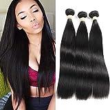 MORICHY Brazilian Straight Hair 3 Bundles, 8A 100% Unprocessed Brazilian Virgin Hair Weave Extensions, Natural Black Color Straight Human Hair Weaves (28 28 28)