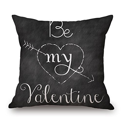 Littay Pillowcase 18inch x 18inch,Happy Valentine's Day Throw Pillow Case Sweet Love Square Cushion Cover ()