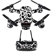 Skin for DJI Spark Mini Drone Combo - Swirly Black| MightySkins Protective, Durable, and Unique Vinyl Decal wrap cover | Easy To Apply, Remove, and Change Styles | Made in the USA