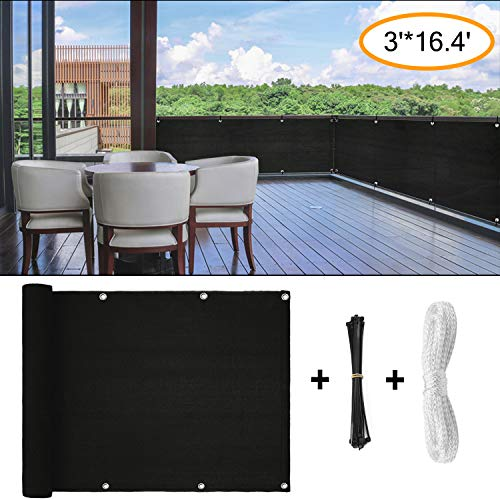 Amogo Fence Privacy Screen, 3ft x16ft Mesh Fence Windscreen for Porch Deck, Outdoor, Backyard, Patio, Balcony to Cover Sun Shade, UV-Proof, Weather-Resistant (Black)