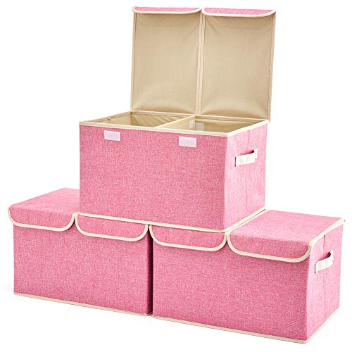 Large Storage Boxes [3-Pack] EZOWare Large Linen Fabric Foldable Storage Cubes Bin Box Containers with Lid and Handles for Nursery, Closet, Kids Room, Toys, Baby Products (Pink)
