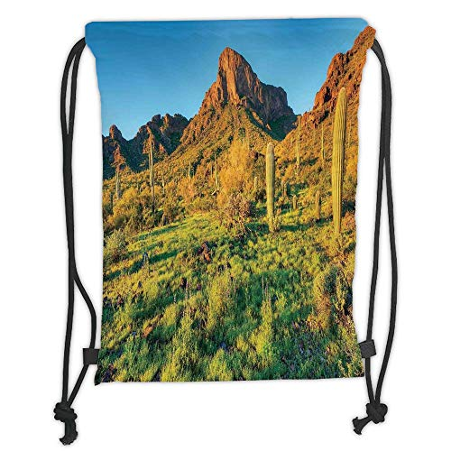 New Fashion Gym Drawstring Backpacks Bags,Saguaro Cactus Decor,Picacho Peak at Sunrise Surrounded by Barren Area Hostile Living Contidions Theme,Green Blue Soft Satin,Adjustable S]()