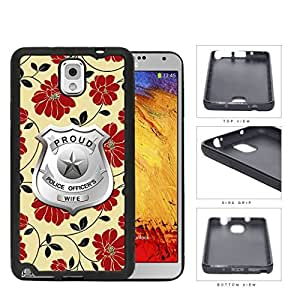 Proud Police Officer's Wife Red Floral Rubber Silicone TPU Cell Phone Case Samsung Galaxy Note 3 III N9000 N9002 N9005
