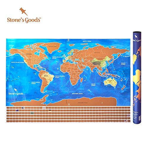 Stones Goods Scratch Off Map Poster: World Travel Map with States - Easy Off Gold Foil Reveals Stunning Watercolor, Tracks Your Travels - All US States Outlined - 24 X 32 Inches, Gorgeous Gift Tube