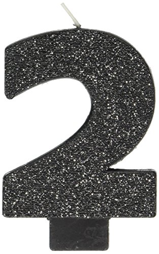 Hot Amscan Black #2 Birthday Glitter Numeral Candle Children's Party Favor Sets, Metallic Gold