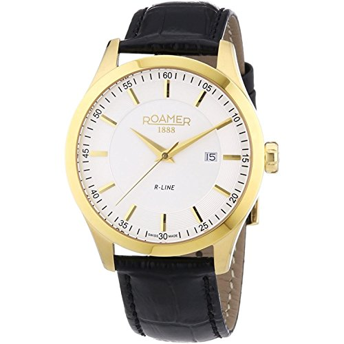 Roamer 943856-48-25-09 Mens R-Line White and Black Leather Strap Watch