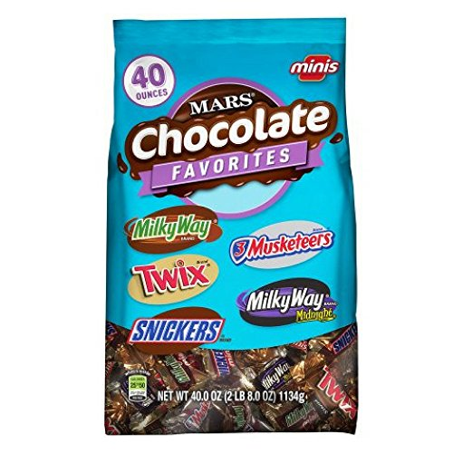 (MARS Chocolate Favorites Minis Size Candy Bars Assorted Variety Mix Bag (TWIX, MILKY WAY, SNICKERS, 3 MUSKETEERS Brands), 40 oz )