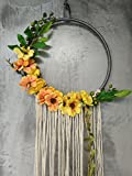"RISEON Handmade 32"" Long Large Tassel Dream Catcher Wall Hanging Decoration Macrame Fringe Floral Flower Wreath Dreamcatcher Boho Home Decor Ornament Gift (Yellow)"