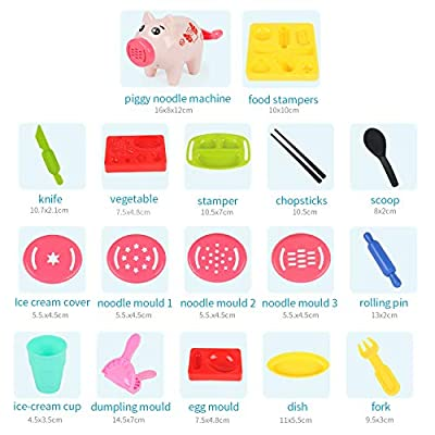 Pony Toy Playdough Tools 18 Kits for Kids, Dough Kitchen Creations Playset,Ice Cream and Pasta Toys Set for Boys and Girls,Compound is no Contained: Toys & Games