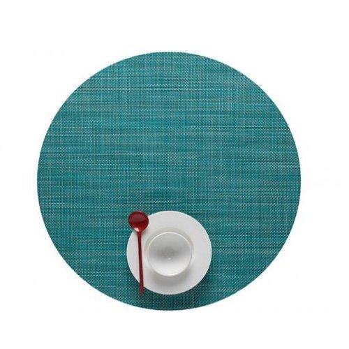 - Chilewich Mini Basketweave Woven Vinyl Round Placemat Turquoise 15
