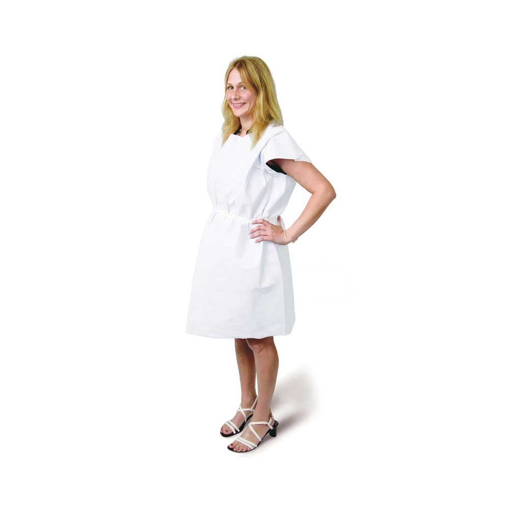PDC Healthcare PP-420 Disposable Exam Gown, Front or Back Opening, Tissue/Poly/Tissue 30'' X 42'', White (Pack of 50)