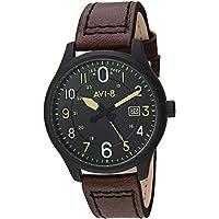 AVI-8 Men's 'Hawker Hurricane' Quartz Stainless Steel and Leather Aviator Watch, Color:Brown (Model: AV-4053-0D)