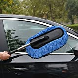 Moyishi Car Duster Microfiber Multipurpose Duster Exterior or Interior Use - Lint Free - Long Unbreakable Extendable Handle (Blue)