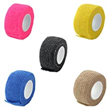 MonkeyJack 5 Pieces 2.5cm x 4.5m Medical First Aid Health Care Self-Adhesive Bandage Gauze Tape Multicolor