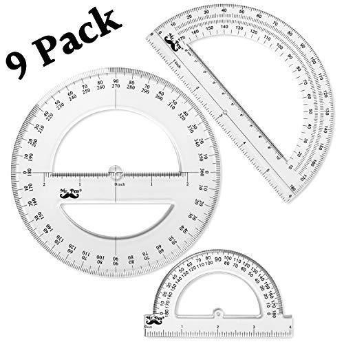 Mr. Pen- Protractor, 9 Pc Protractor Set, Protractor Ruler, Drafting Tools, Circle Protractor, Protractor for Kids, Protractors Classroom Set, Large Protractor, Protactor 360 Degree, Math Geometry ()