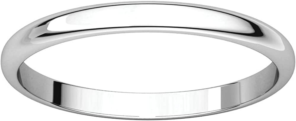 10K White Gold 2mm Half Round Light Bridal Wedding Ring Band