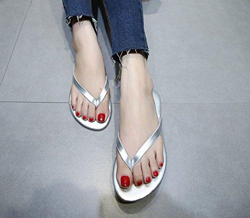 ZLIDS Infradito Antiscivolo Argento Fashion Da Da Sandali Donna Summer Piatti Bianco Spiaggia Silver Nero dUSgdr