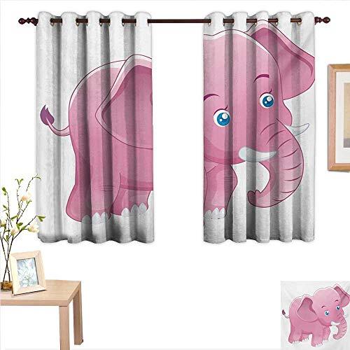 (Superlucky Elephant Nursery Decorative Curtains for Living Room Comic Safari Animals as Toddler with Tusks Mammal Savannah Zoo Cartoon 55