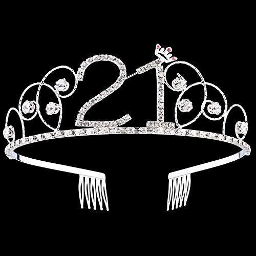 BABEYOND Crystal Birthday Tiara Crown Princess Birthday Crown Hair Accessories Happy 21st Birthday Crown Tiara for Women (21 Birth) -
