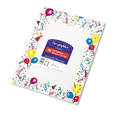 Geographicsamp;reg; Design Paper, Party, 24lb, Letter, 100 Sheets per Pack