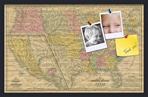 - PinPix pin Cork Bulletin Board Made from Canvas, Mid-1800s US Map 32 x 20 Inches (Completed Size) and Framed in Satin Black (PinPix-658)