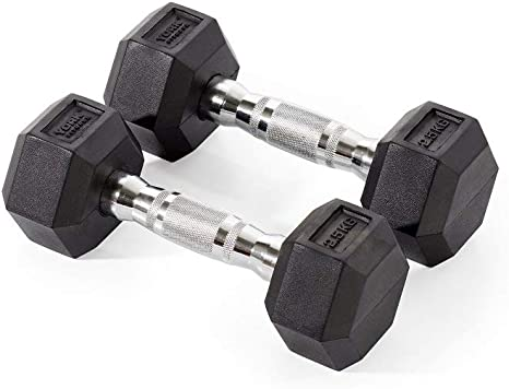 York Fitness, Pesas Hexagonales De Caucho, Negro, 2 X 1.25Kg ...