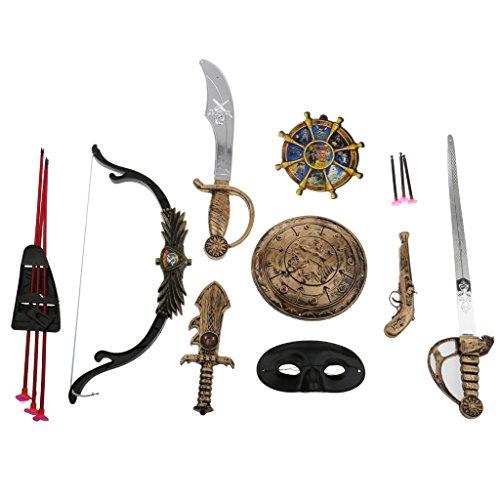 Piraten Schwert Augenmaske Pistole Bogenpfeil Schild Gesetzt Kind Kostüm Spielzeug