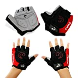 GEARONIC TM New Fashion Cycling Bike Bicycle Motorcycle Shockproof Foam Padded Outdoor Sports Half Finger Short Gloves - Red