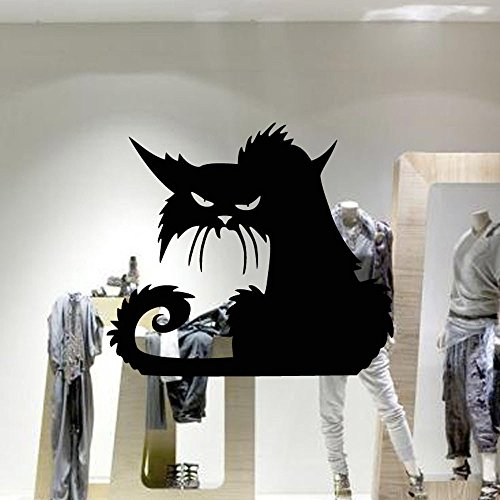 Halloween Scary Cat Wall Stickers, Oksale® 16.5 × 14.6 Inch, Decorative Sofa Bedroom Living Room Home Art Vinyl Removable Applique Papers Mural Decor Decal]()