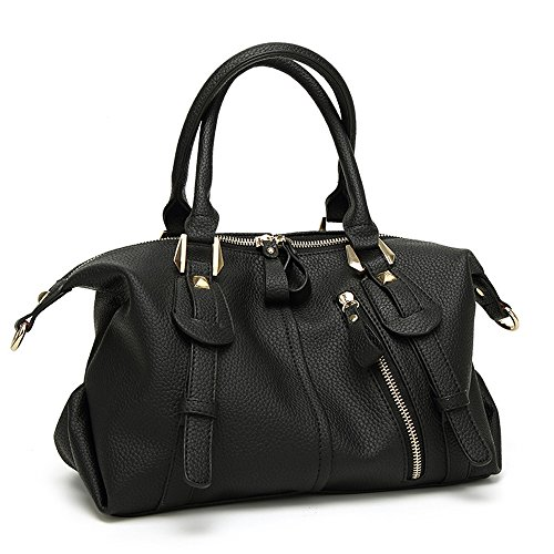 Duffel Bag Shoulder Satchel Punk Purse Handbag Black Top Barrel Women Leather amp;Sue Handle Soft Mn wZHX7Uqn