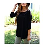 Piko Women's 1988 Famous 3/4 Sleeve Bamboo Top Loose Fit (Medium, Black) offers