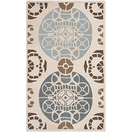 Safavieh Capri Collection CPR353A Handmade Beige and Blue Premium Wool Area Rug (3' x 5')