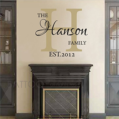 BATTOO Family Name Wall Decal - Personalized Family Wall Decal - Last Name Wall Decal - Vinyl Wall Decal - Family Vinyl Lettering