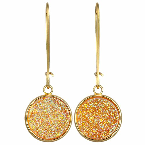 (TUMBEELLUWA Titanium Coated Druzy Agate Dangle Earrings Stone Kidney Hook Drop Healing Crystal Earring Handmade Jewelry for Women,Orange AB Aura)