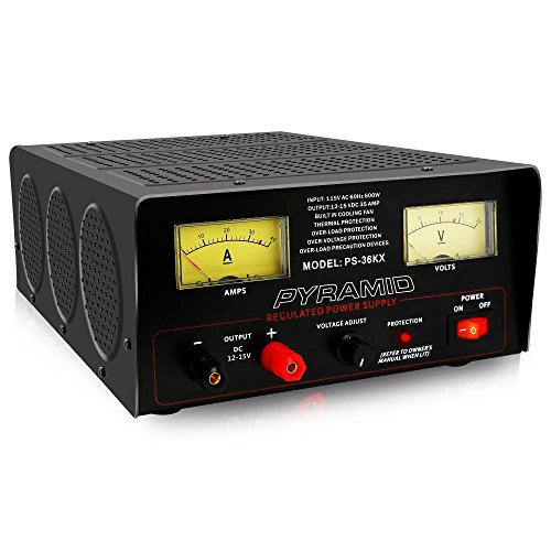 Universal Compact Bench Power Supply - 32 Amp Linear Regulated Home Lab Benchtop AC-to-DC 12V Converter w/ 12-15V DC 115V AC 600 Watt Input, Amperage Gauge Display, Adjustable Voltage - Pyramid PS36KX ()
