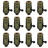 AAF Antique Bronze Turn Knob Screw Lamp Holder, Diy Light Socket E26 / E27 Base, Pack Of 12