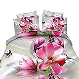 zhENfu 3D Reactive Beautiful Flower Bedding Sets 4 Pcs for Queen Size Contain 1 Duvet Cover 1 Bedsheet 2 Pillowcases from China,Queen,Peach