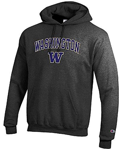 Gear for Sports Washington Huskies Granite Heather Champion Campus Powerblend Screened Hoodie Sweatshirt (Medium)