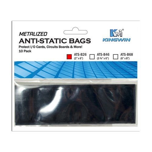 Bags Anti Metalized Static - Kingwin 2-Inch x 6-Inch Anti Static Bag (ATS-B26)
