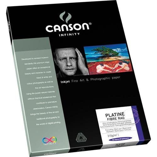 Canson Infinity Infinity Platine 100% Fibre Rag Bright White Smooth Satin Inkjet Paper, 310gsm, 8.5x11