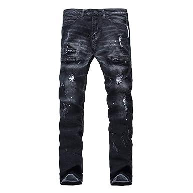 ADELINA Pantalones Vaqueros De Los Hombres Biker Destroyed ...
