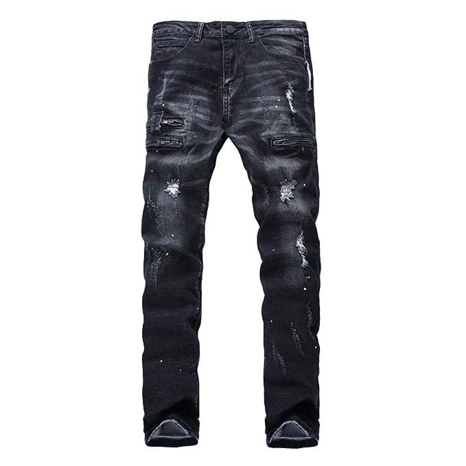 BOLAWOO Pantalones Vaqueros De Los Look Jeans Destroyed ...