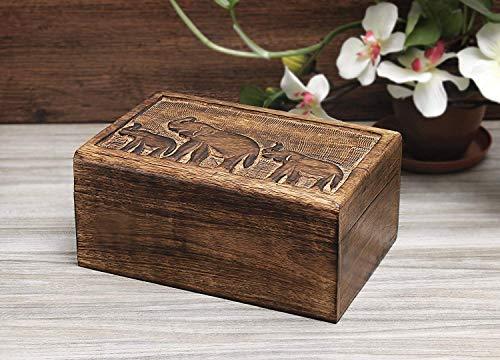 Aheli Wooden Keepsake Box Jewelry Trinket Storage Organizer Handmade Elephant Motif (Winter Centrepieces)