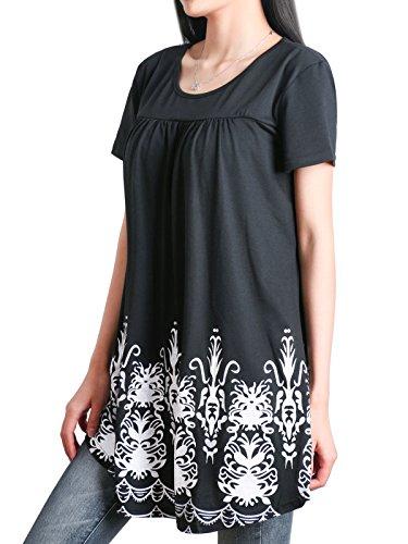 Manches Longues Manches Shirt Bouton plisse DSUK Courtes Noir01 Tunique Floral Tee qt1STnE