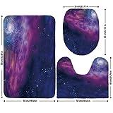 3 Piece Bathroom Mat Set,Outer Space Decor,Spiritual Dim Star Clusters Milky Circle Back with Solar System Elements,Purple Blue,Bath Mat,Bathroom Carpet Rug,Non-Slip