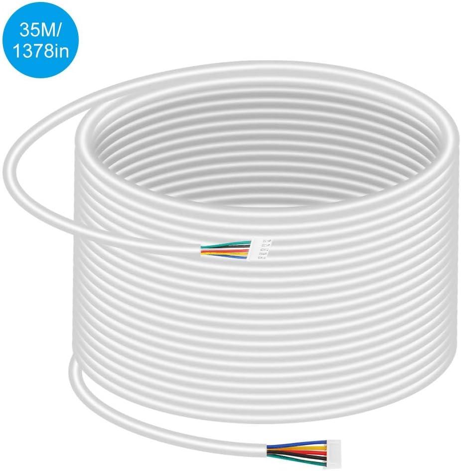 ligne de sonnette de 35 m pour syst/ème de portier vid/éo c/âble en cuivre flexible rond de 35m 0.5mm/² C/âble en cuivre /à 5 conducteurs