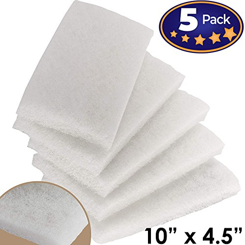 Commercial-Grade Non-Abrasive White Cleaning Pad 5 Pack by Mop Mob. Large, Multi-Purpose 10 in x 4 1/2 in Scouring Pad Fits Universal Holders. Great for Scrubbing Sinks, Tile, Windows and Fine China ()